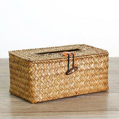 Paper Holder Desktop Home Tissue Box Seaweed Woven Handmade