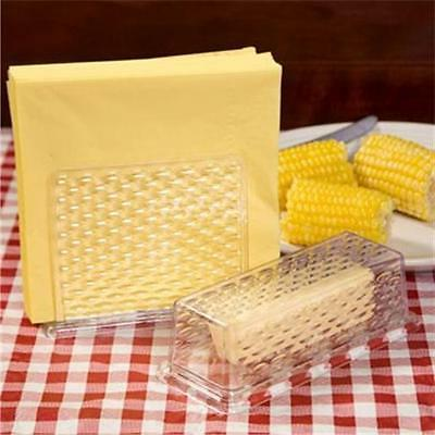 plastic napkin holder and butter dish set