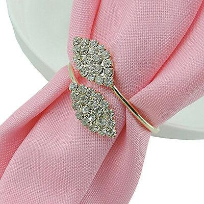 12Pc/set Rhinestone Napkin Rings Handmade Serviette Buckle H