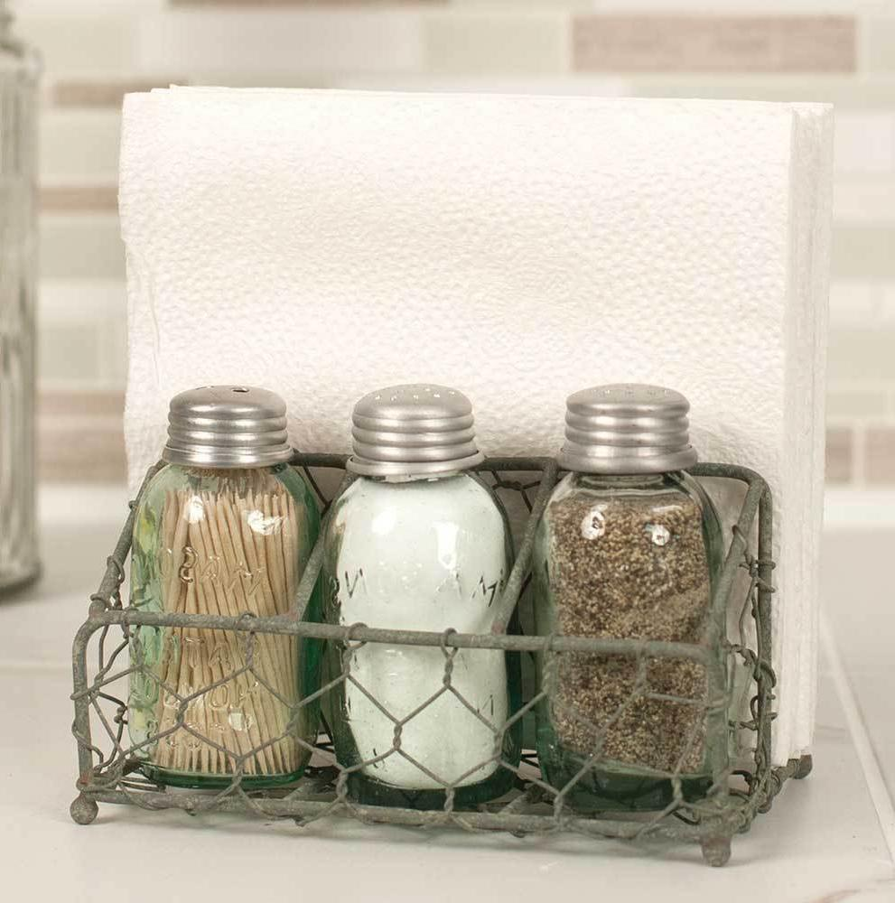 Rustic Primitive Country Chicken Wire Salt Pepper and Napkin
