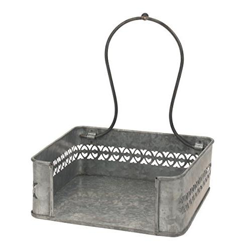 Stonebriar Rustic Silver Metal Top Holder, Decorative for Table Kitchen, for