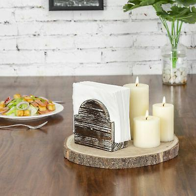 MyGift Rustic Wood Arched Tabletop Napkin