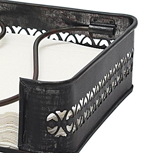 Stonebriar Industrial Metal Table Top Napkin Holder, Tray Kitchen, for Horizontal Display