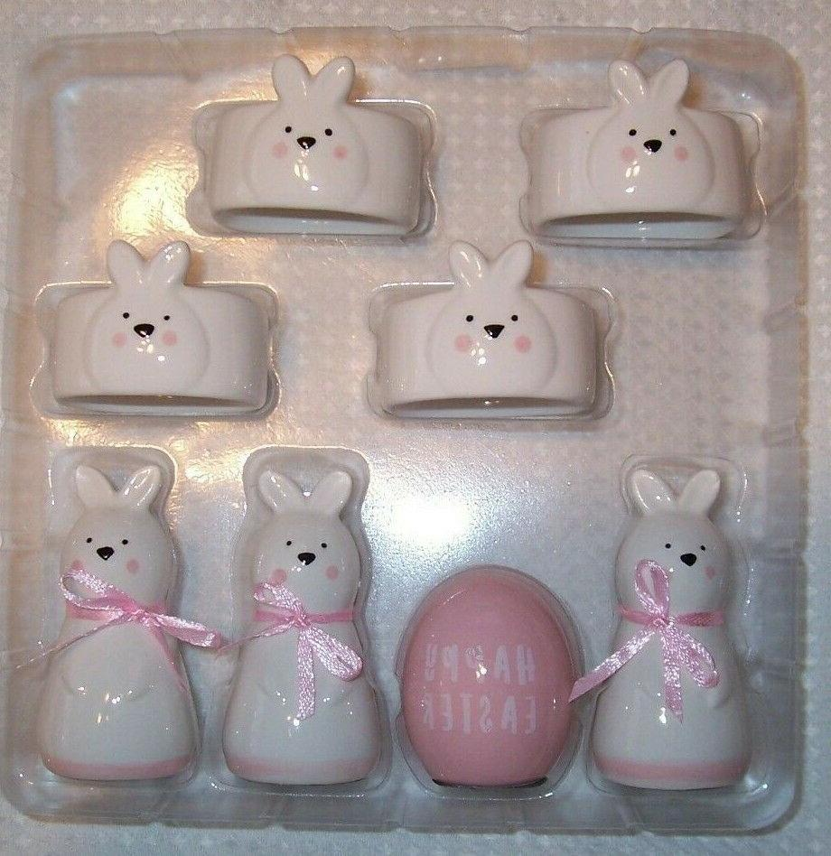 SET OF White Pink Easter Bunny Napkin Card NWT