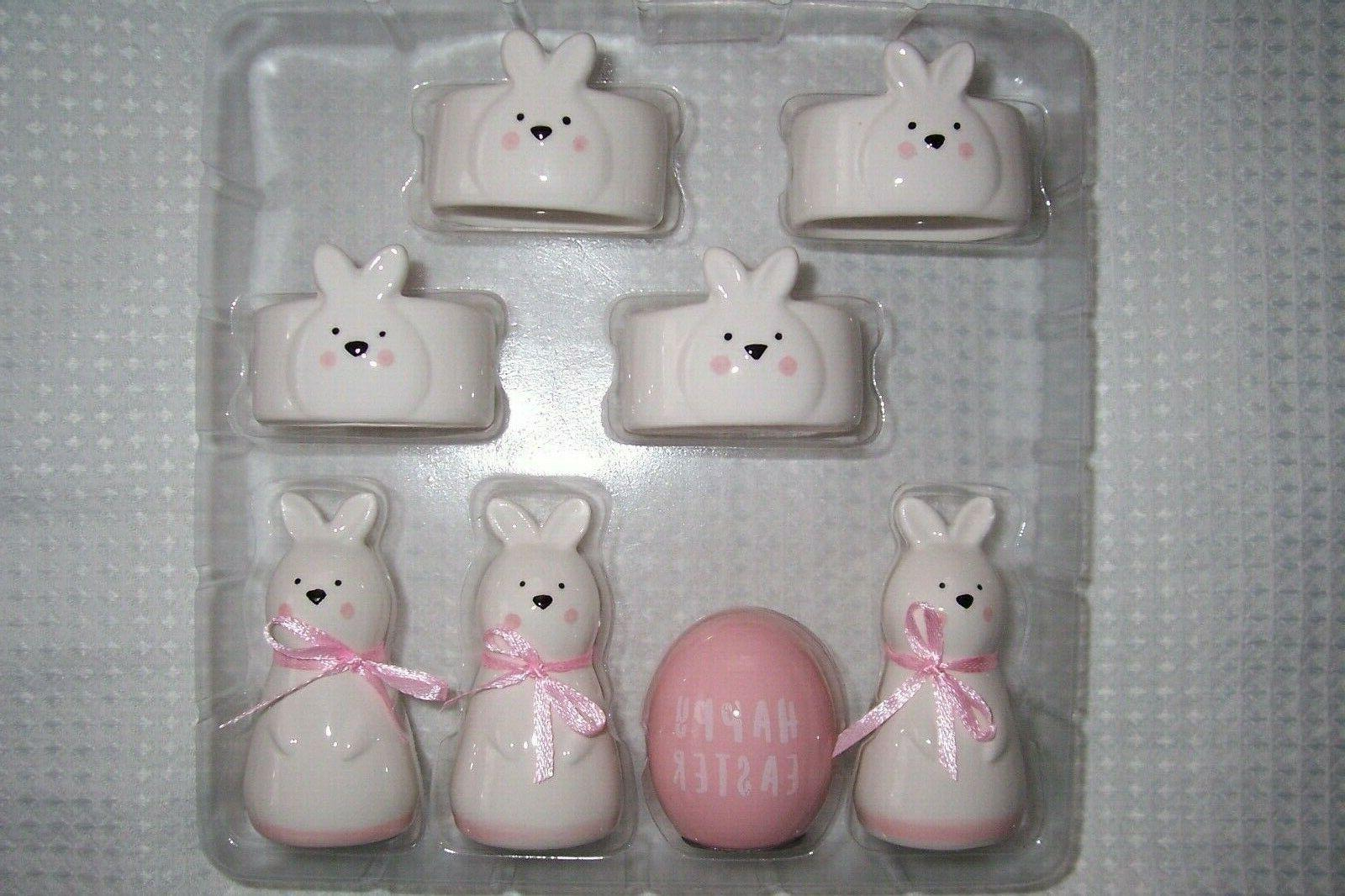SET 4 White and Easter Bunny Card Holders NWT