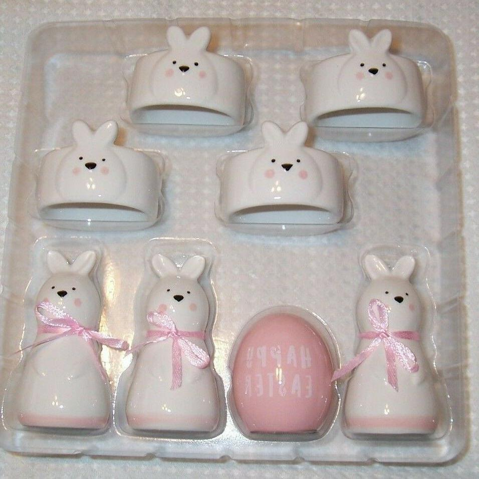 SET OF White and Pink Easter Bunny Napkin Card Holders NWT