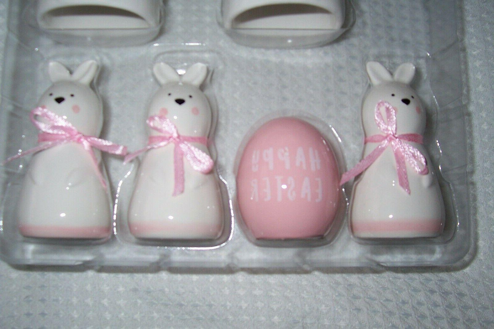 White Easter Bunny Napkin Rings & Card NWT