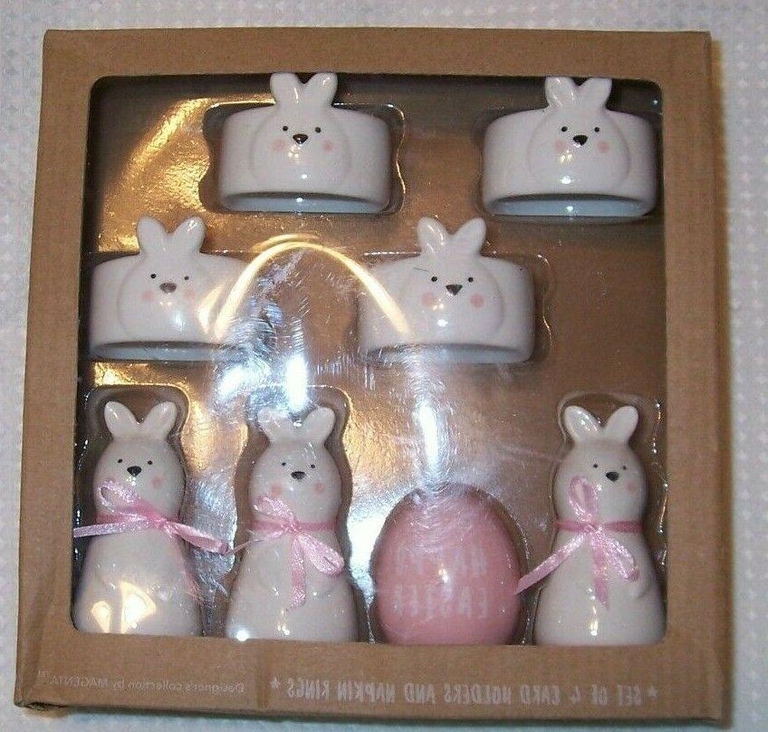 set of 4 ceramic white and pink
