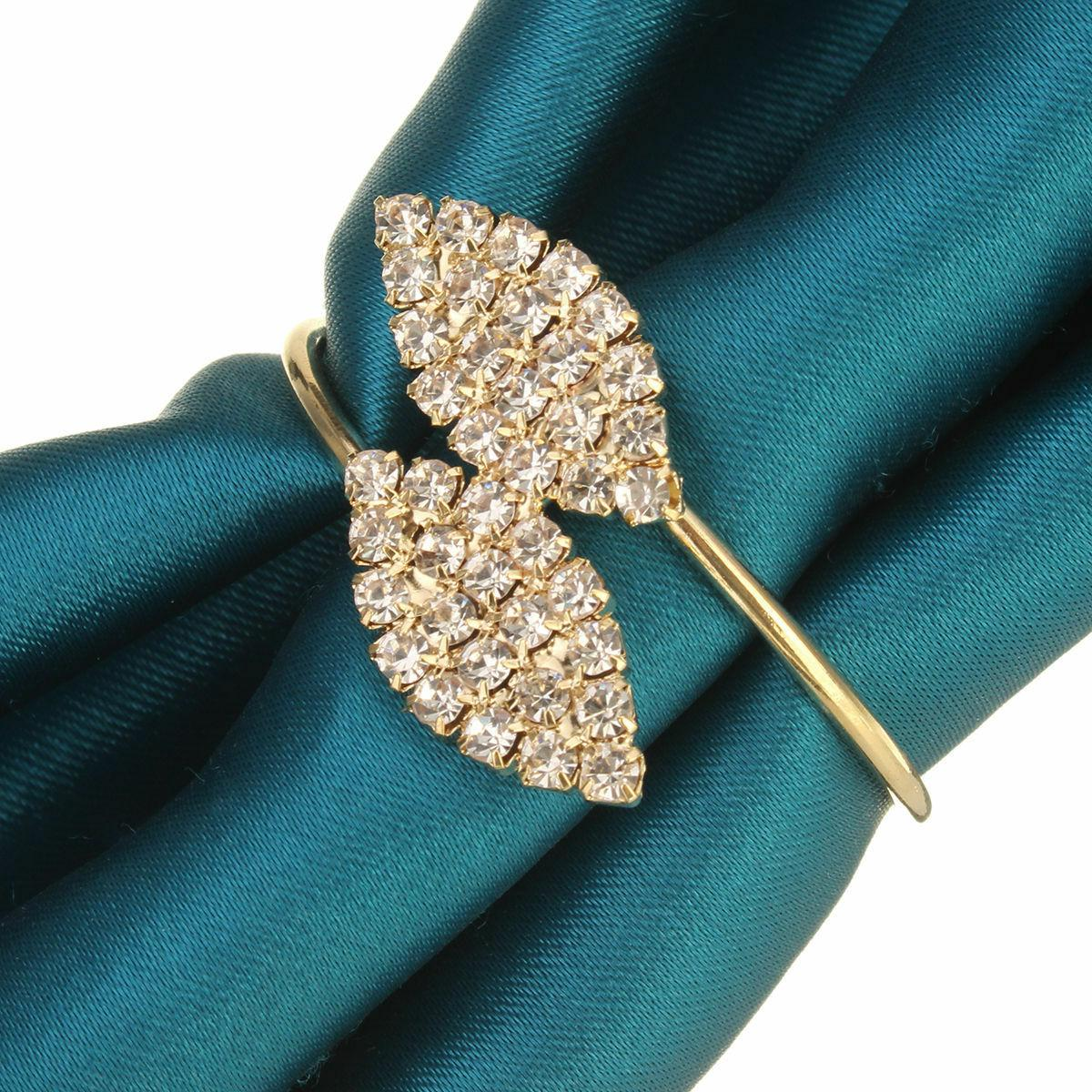 Set of 6 Rhinestone Napkin Ring Handmade Serviette Buckle Ho