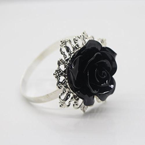 shipin black rose decorative silver