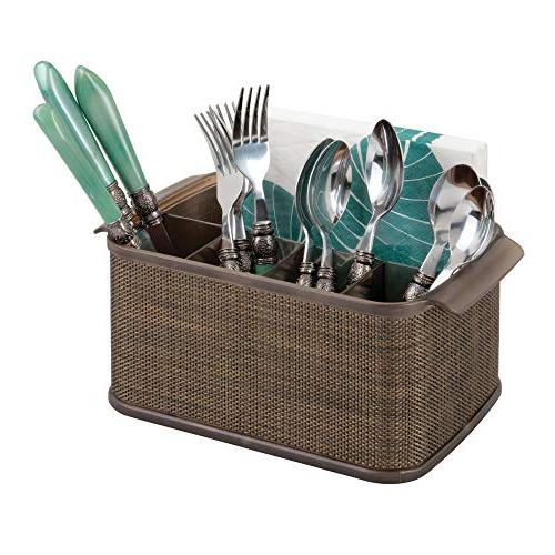 mDesign Plastic Organizer with Handles Cabinet Pantry Holds Forks, Spoons, Outdoor - Accent, - Bronze/Sand