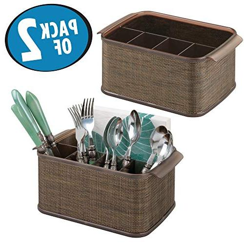 mDesign Organizer with Cabinet or Pantry - Holds Napkins Outdoor Accent, Bronze/Sand