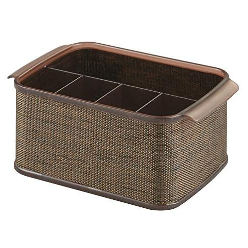 Organizer Caddy Bin with Handles Cabinet Pantry Holds Forks, Napkins Outdoor Use Accent, 2 Bronze/Sand