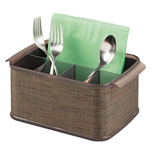 mDesign Plastic Cutlery Storage Organizer Caddy Tote with Handles for Cabinet Pantry Holds Forks, Knives, Spoons, Napkins - or Outdoor Use Accent, Pack Bronze/Sand