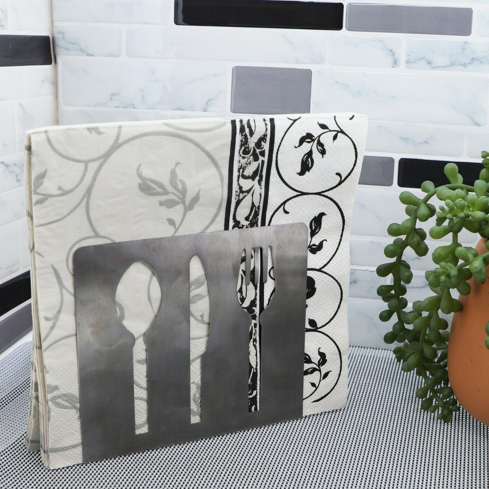 stainless steel napkin holder silver with spoon