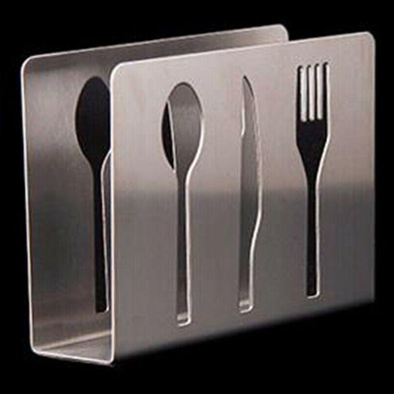 Stainless Paper Holder Cutlery Table Decor Rack #ya7
