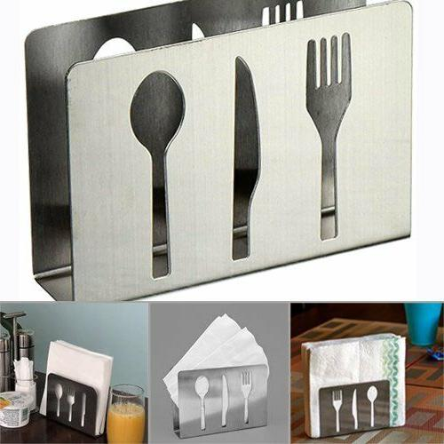 Stainless Steel Paper Napkin Holder Cutlery Cutout Dining Ta