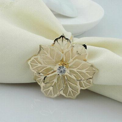 36pcs Floral Alloy Rings Napkin Holder Wedding Towel Napkin