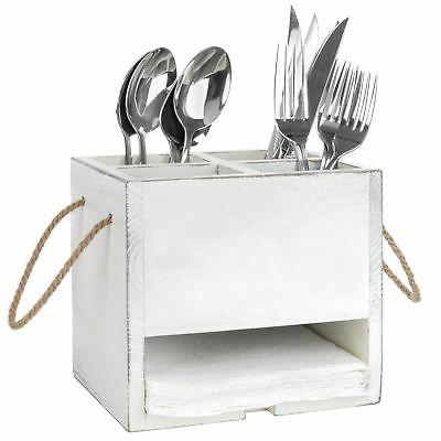 MyGift Vintage White Wood 4-Compartment & Napkin