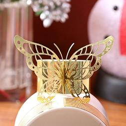 Set of 50 Laser Cut Purple Butterfly Paper Napkin Rings Hold