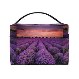 Lavender Field Print Portable Travel Makeup Cosmetic Bags To