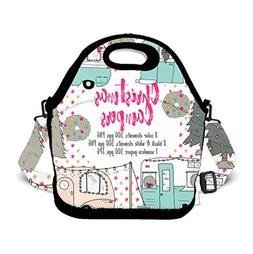 Insulated Neoprene Lunch Bag Tote Handbag Christmas Camper C