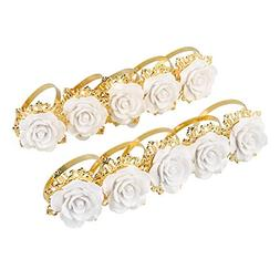 Kicode Luxurious 10pcs Resin Rose Designed Napkin Ring Holde