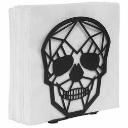 MyGift Matte Black Skull Design Metal Napkin Holder