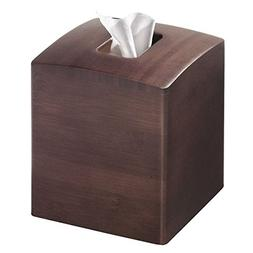 mDesign Square Bamboo Wood Facial Tissue Paper Box Cover Hol