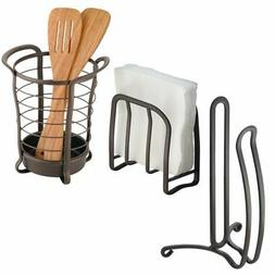 mDesign Kitchen Storage Set, Paper Towel Holder, Napkin Hold