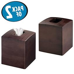 mDesign Square Bamboo Facial Tissue Box Cover Holder for Bat