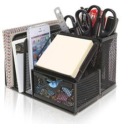 MyGift Metal Mesh Office Supplies Storage Rack, Mail Organiz