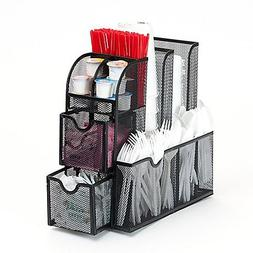 Mind Reader Metal Mesh Coffee 9 Compartments and 2 Drawers C