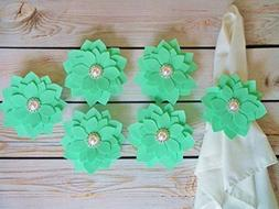 Set of 6 mint fabric flower napkin rings, white faux pearl a