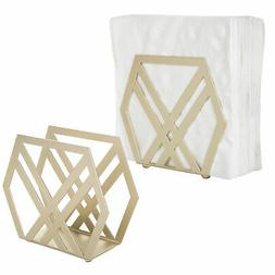 MyGift Modern Geometric Brass-Tone Metal Napkin Holder, Set