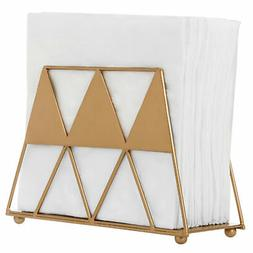 MyGift Modern Gold-Tone Geometric Triangle Metal Napkin Hold