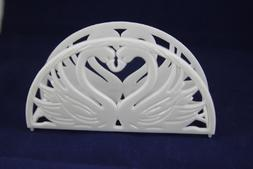 "7"" Napkin Holder - Double Swan Heart Design 12 Pieces / Whit"