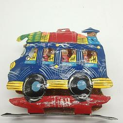 Napkin holder. Colorful Metal Blue & Red Bus from Haiti. Han