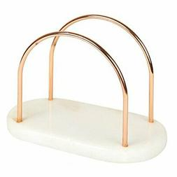 Creative Home Natural White Marble and Wire Napkin Holder wi