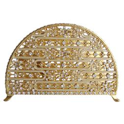Napkin Holder Pewter / Gold  With Stones