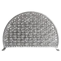 Napkin Holder Pewter / Silver With Crystals