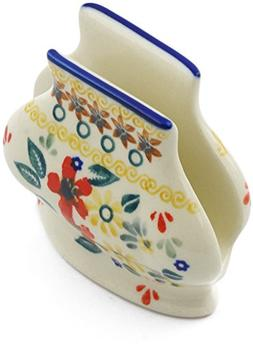 Polish Pottery 3-inch Napkin Holder  + Certificate of Authen