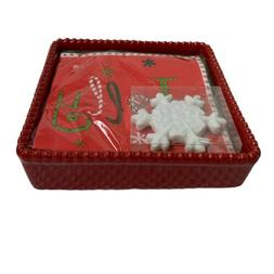 Real Home Napkin Holder Tray With Snowflake Weight Holiday