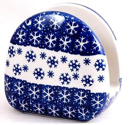 Polish Pottery Napkin Holder in Winter Pattern PZ or Snowfla