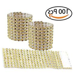 Tretree Napkin Rings, 100 Pcs Golden Handcraft Sparkly Napki