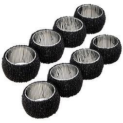Lot of 8 Pieces Napkin Rings Black Indian Handmade Glass Bea