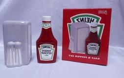 NEW IN BOX HEINZ KETCHUP & NAPKIN HOLDER PORCELAIN SALT & PE