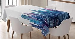 CHARMHOME New York Cotton Linen Tablecloth, Dining Room Kitc