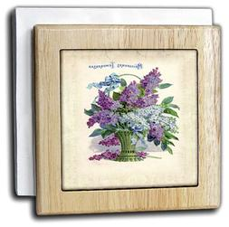 3dRose nh_80237_1 Beautiful Vintage French Basket Of Lilacs
