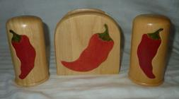 NIB 'Chili Pepper' Salt & Pepper Shaker hardwood set with Na